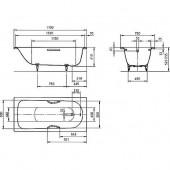 Ванна стальная Kaldewei Saniform plus (336) с отв. для ручек 170x75x41