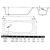 Ванна стальная BLB Atlantica 170х80 см с отверстиями для ручек 208 мм без опорной подставки B70AS