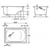 Ванна стальная BLB Europa-mini 105x70 см сидячая BLB без опорной подставки B05E
