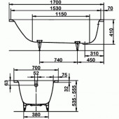 Ванна стальная Kaldewei Saniform plus (363-1) 170x70x41