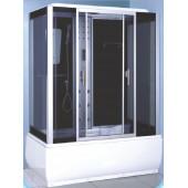 Душевой бокс DN7005B 150х83х218 с крышей высокий поддон стёкла ЧЕРНЫЕ с электрикой
