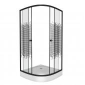 Душевой уголок DN522B 100х100х195 низкий поддон 13см стекло тонниров пиксель профиль черный