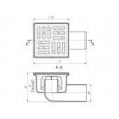 Трап TA5102 горизонт нерегулируемый с выпуском 50 мм, с нерж. решеткой 10*10 см