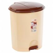 Контейнер д/мусора с педалью 11л бежевый/коричневый (пластик)