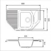 Мойка комп. GRANFEST Corner GF-C800E (F-10) (800х500) Белый 331 угловая