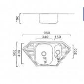 Мойка из нержавеющей стали 50х95 (0,8 мм) FRAP F5095T