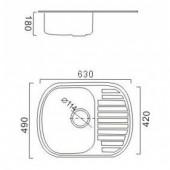 Мойка из нержавеющей стали 49х63 (0,8 мм) FRAP F4963