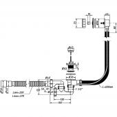 Сифон для ванны 1 1/2 х 40 полуавтомат,регулир с переливом и гибкой трубой 40/50 А-28089 ОРИО