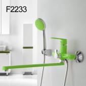 F2233 Смеситель для ванны с душем картридж 35мм L-нос 35см FRAP 2233 зеленый