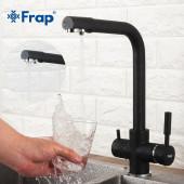 F4352-7 Смеситель для кухни с подключением фильтра питьевой воды картридж 35мм FRAP 4352-7 Черный