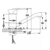 SL55-004F-15 Смеситель для кухни с коротким поворотным изливом Картридж 40мм Крепление: гайка (РМС)