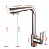 F4372-5 Смеситель для кухни с подключением фильтра питьевой воды картридж 35мм FRAP 4372-5 Сатин