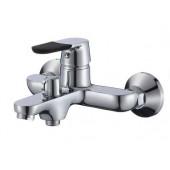 SL123BL-009E Смеситель для ванны с коротким литым изливом Картридж 35мм Евро-переключение на душ Цвет покрытия корпуса: черный+хром (РМС)
