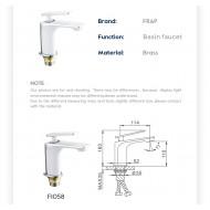 F1058 Смеситель для умывальника литой корпус картридж 25мм FRAP 1058 Белый/хром