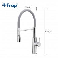 F4452-6 Смеситель для кухни гибкий гусак 2-реимный картридж 40мм FRAP 4452-6 СЕРЫЙ/ХРОМ