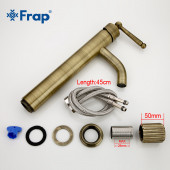 F1052-13 Смеситель для умывальника высокий, картридж 40мм FRAP 1052-13 античная бронза