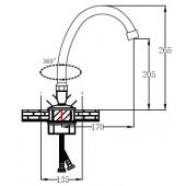SL72-271F Смеситель для кухни с высоким изливом 2-х рожковый Крепление: гайка (РМС)