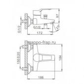 F3063 Смеситель для ванны с душем картридж 40мм короткий излив FRAP 3063