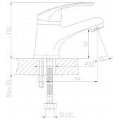 SL86-001 Смеситель для умывальника Картридж: 35мм Крепление: шпилька (РМС)