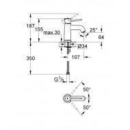 GROHE 23162000 Смеситель для умывальника литой корпус BAU CLASSIC GROHE 23162000