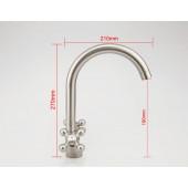 F4019-5 Смеситель на кухню 2-х вентильный высокий излив FRAP 4019-5 сатин