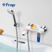 F3234 Смеситель для ванны с душем картридж 35мм короткий поворотный излив FRAP 3234 Белый