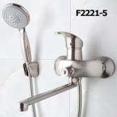F2221-5 Смеситель для ванны с душем картридж 40мм L-нос 40см FRAP 2221-5 сатин