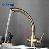 F4399-4 Смеситель для кухни с подключением фильтра питьевой воды картридж 35мм FRAP 4399-4 Бронза