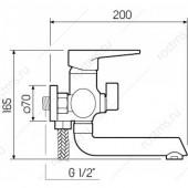 SL77BL-009E Смеситель для ванны с коротким изливом Картридж 35мм Евро-переключение на душ Цвет покрытия: черный (РМС)