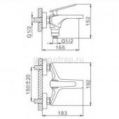 F3257 Смеситель для ванны с душем картридж 40мм короткий излив FRAP 3257 Черный