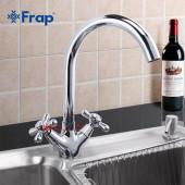 F4025 Смеситель на кухню 2-х вентильный высокий излив FRAP 4025