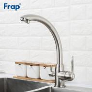 F4399-5 Смеситель для кухни с подключением фильтра питьевой воды картридж 35мм FRAP 4399-5 Сатин