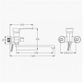 SL52-006E Смеситель для ванны с длинным изливом Картридж 40мм Евро-переключение на душ (РМС)