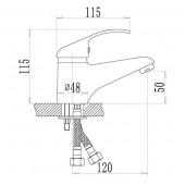 SL128-001 Смеситель для умывальника Картридж 35мм Крепление шпилька (РМС)