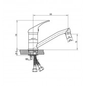 SL128-004F-15 Смеситель для кухни с коротким поворотным изливом Картридж 35мм Крепление:гайка (РМС)