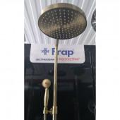 F2410 Смеситель душевой с регулируемой высотой штанги и верхним тропическим душем Frap 2410 цвет бронза