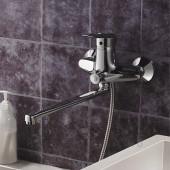 F2207 Смеситель для ванны с душем картридж 40мм L-нос 35см FRAP 2207