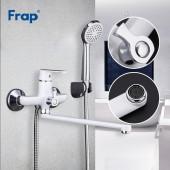 F2231 Смеситель для ванны с душем картридж 35мм L-нос 35см FRAP 2231 белый