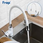 F4041 Смеситель для кухни гибкий излив картридж Ф35 FRAP 4041 Белый