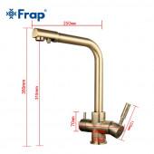 F4352-4 Смеситель для кухни с подключением фильтра питьевой воды картридж 35мм FRAP 4352-4 под бронзу