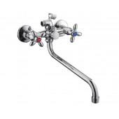 F2227-2 Смеситель для ванны 2-х вентильный с картриджным переключением на душ S-нос FRAP 2227-2