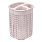 Подставка д/зубных щеток Вязание_чайная роза М 2240(пластик)