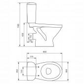 Унитаз-компакт TRENTO TR011 (горизонтальный выпуск,сиденье микролифт) Cersani