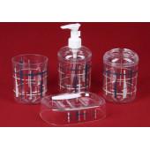 Набор для ванной 4 предмета цветные полосы прозрачн стекло RPL-35009-4