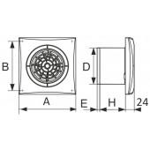 AURA 4C Chrome, Вентилятор осевой вытяжной с обратным клапаном D 100, декоративный