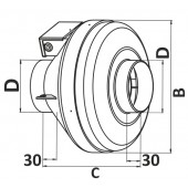 CYCLONE-EBM 125, Вентилятор центробежный канальный пластиковый D125