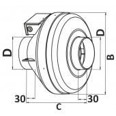 CYCLONE-EBM 160, Вентилятор центробежный канальный пластиковый D160