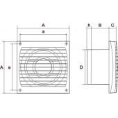 ERA 4S-02, Вентилятор осевой вытяжной с антимоскитной сеткой, шнуровым тяговым выключателем D 100