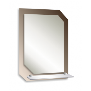 Зеркало с полкой 70х50см.(КВАДРО)